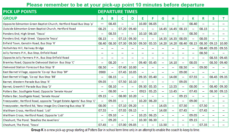 Pick-Up Timetable